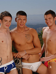 Three hot twinks fucking outdoors
