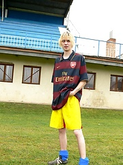 Sexy blonde soccer teen boy