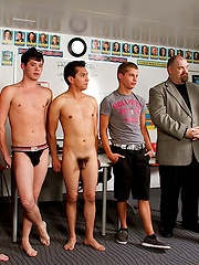 Two daddies and their young buddies in spank event