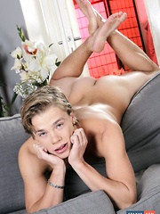 Blond Beauty Gets His Ass Pummelled By His Fuck-Buddy, Then Hammered By A Monster Dildo!